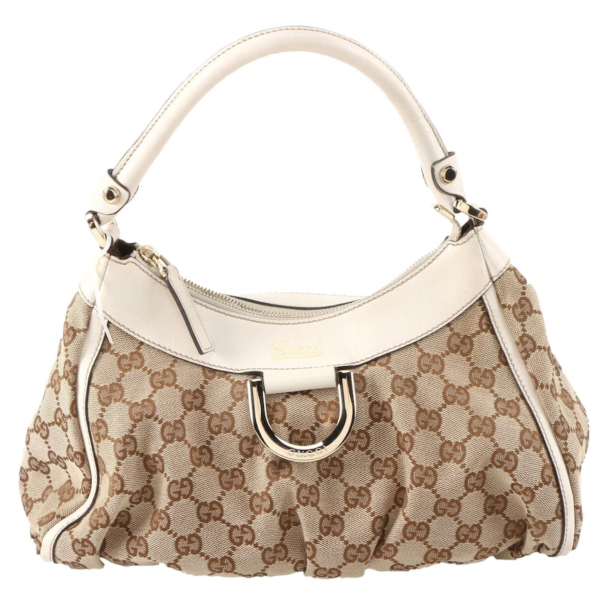 Gucci Abbey D-Ring GG Canvas and White Leather Hobo Bag