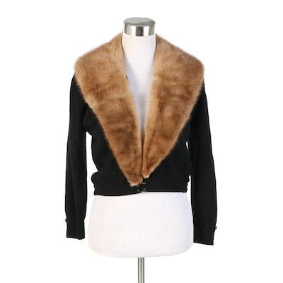 Altmann of Vienna Black Cashmere Sweater with Mink Fur Collar, 1950s Vintage