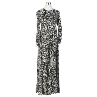 Diane von Fürstenberg Black and White Knit Maxi Dress, 1970s Vintage