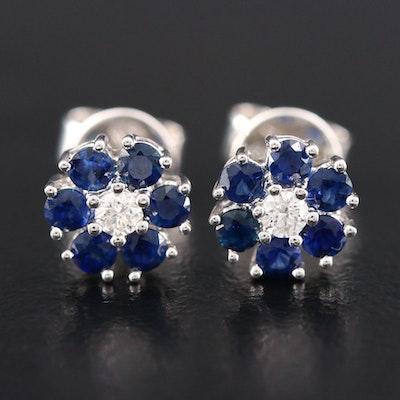 18K White Gold Diamond and Sapphire Flower Stud Earrings
