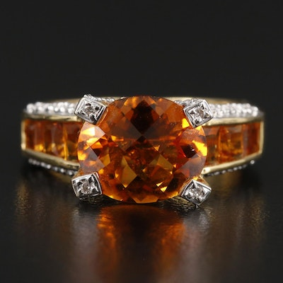 Bellarri 18K Yellow Gold Citrine and Diamond Ring
