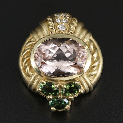 Judith Ripka 18K Yellow Gold 12.62 CT Morganite and Gemstone Converter Brooch