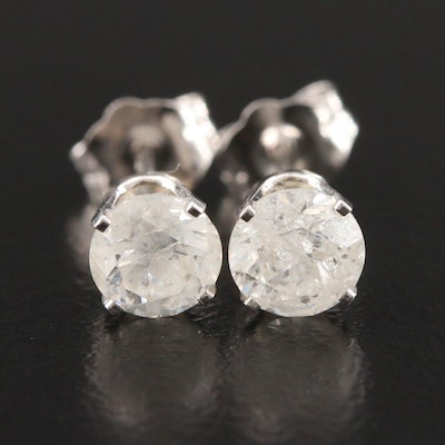 14K White Gold 1.06 CTW Diamond Stud Earrings