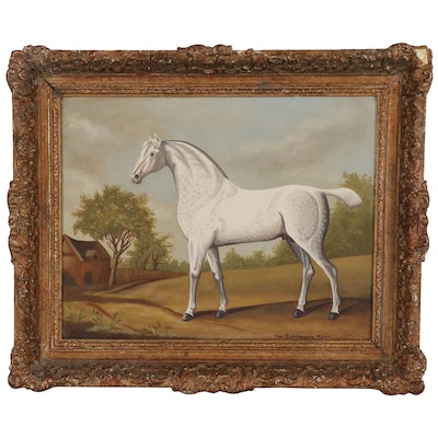 Ron Lee Van Sweringen Oil Painting of White Horse