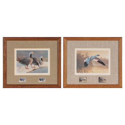 Daniel Smith Wildlife Offset Lithographs with Stamps