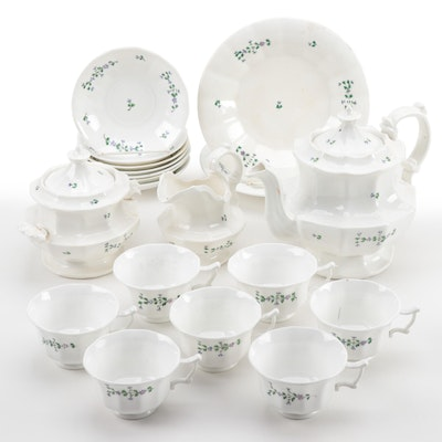 White Porcelain Tea Service With Hand-Painted Floral Detailst