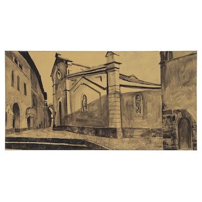 "Timur Akhriev Monumental Imprimatura Oil Painting ""Church- Late Afternoon"""