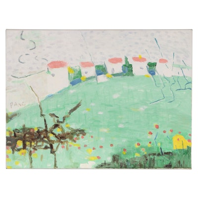 """Jen Pang Abstract Landscape Oil Painting """"Boca Golf Course"""""""