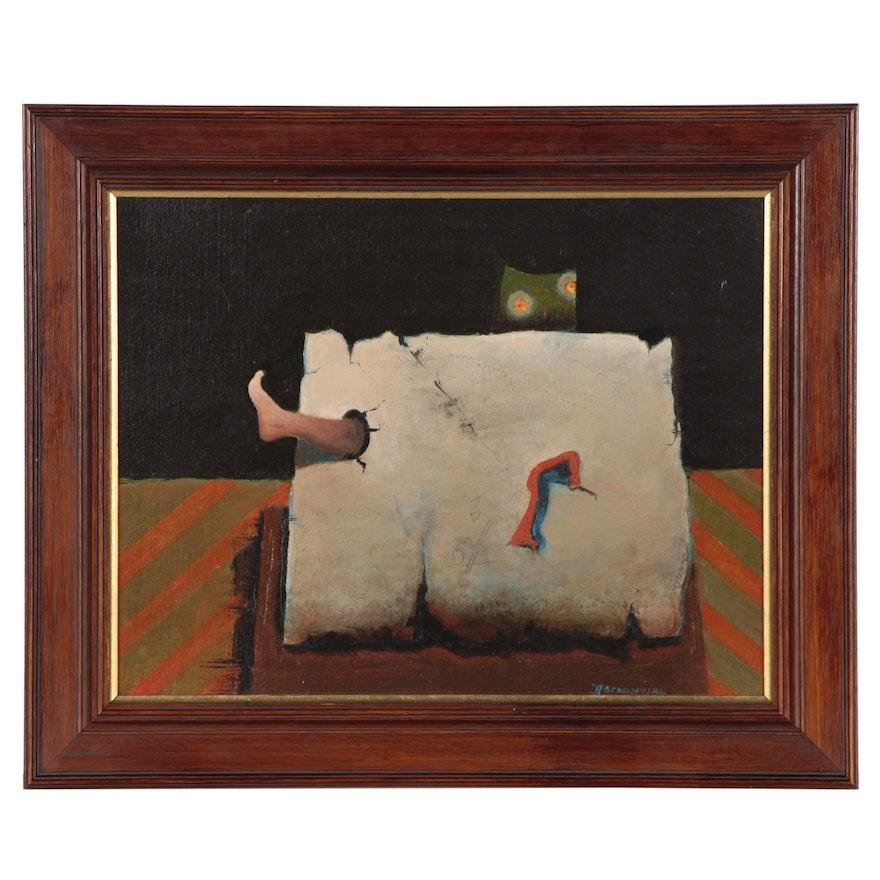 "Tadeusz Jaroszynski Oil Painting ""The Paper Packet"", 1975"