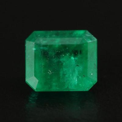 Loose 1.76 CT Emerald Cut Emerald Gemstone