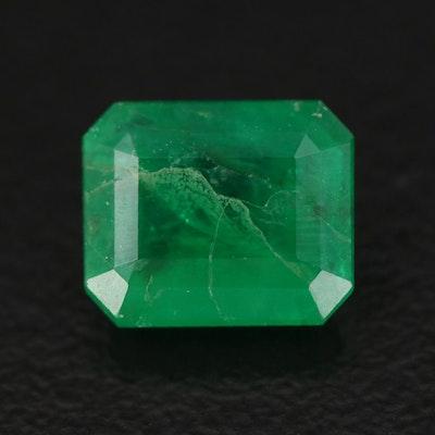 Loose 1.74 CT Emerald Cut Emerald Gemstone