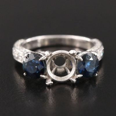 McLery Platinum Sapphire and Diamond Semi Mount Ring