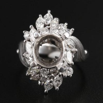 Platinum 1.29 CTW Diamond Semi-Mount Ring