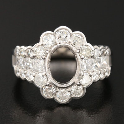Platinum 2.34 CTW Diamond Semi-Mount Ring