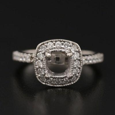 14K White Gold Diamond Semi-Mount Halo Ring