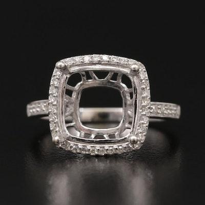 14K White Gold Diamond Semi-Mount Ring with Halo