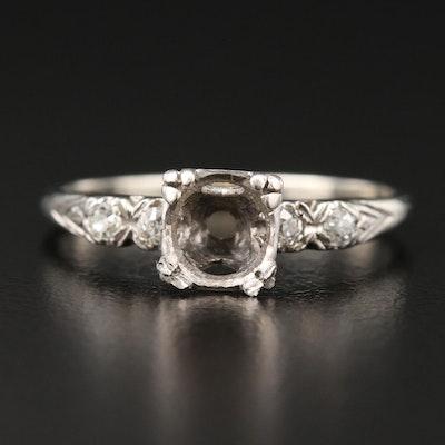 Circa 1950's 18K White Gold Diamond Semi-Mount Ring with Palladium Accent