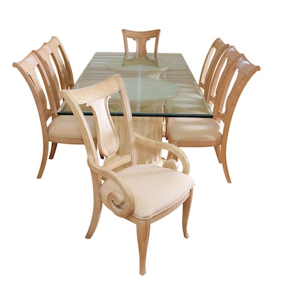 Neoclassical Style Double Pedestal Glass-Top Dining Table and Eight Chairs