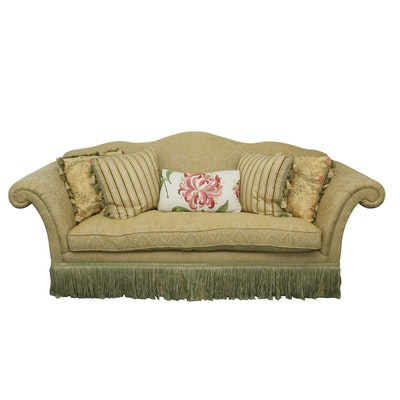 Drexel Heritage Camelback Sofa with Damask Upholstery and Decorative Pillows