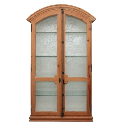 Glass and Cedar Arched Display Cabinet with Damask Backing