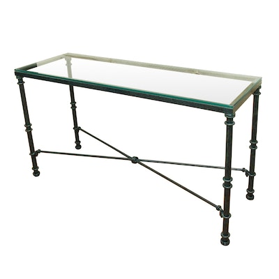 Glass and Metal Sofa Table in Verde Marble Finish