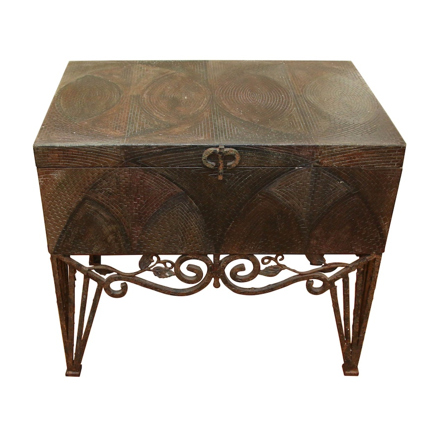 Mosaic Patterned Chest with Wrought Iron Base