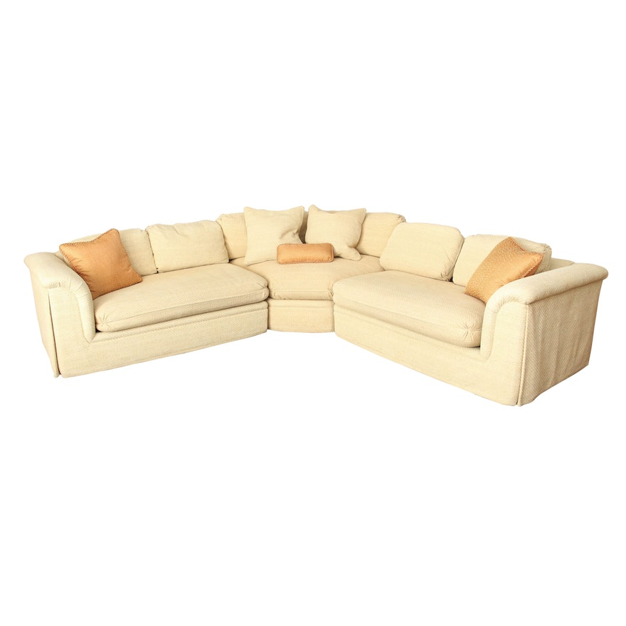 Chenille Upholstered Modular Sofa with Decorative Pillows