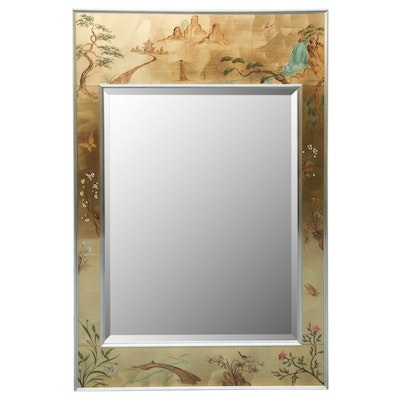 Reverse Painted Wall Mirror with East Asian Landscape Scene
