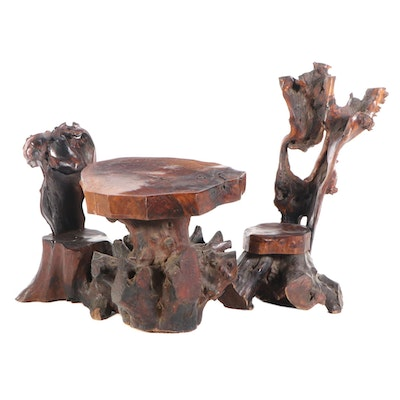 Natural Root Table and Two Chairs, Mid 20th Century