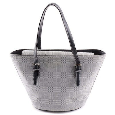 Burberry Two-Tone Gray Plaid Jacquard and Leather Tote