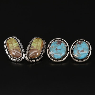 Signed Southwestern Style Sterling Turquoise and Gaspeite Earrings