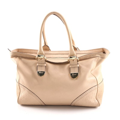 Gucci Signoria Medium Tote Bag in Blush Leather and Guccissima Embossed Leather