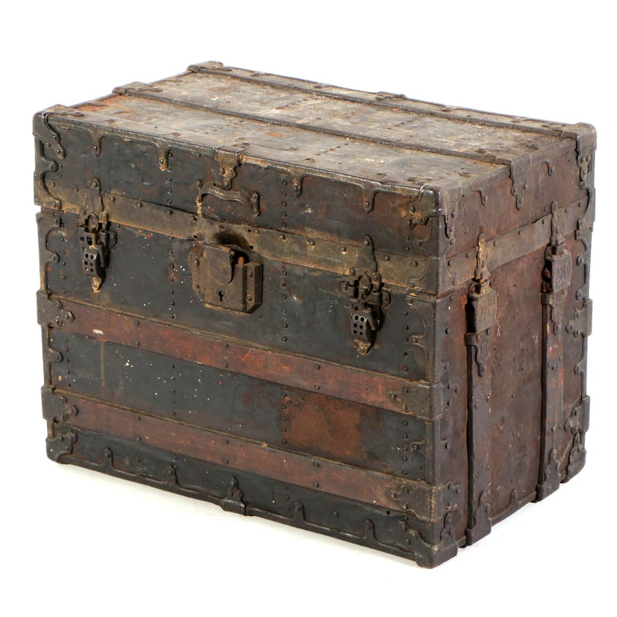 Victorian Metal Clad Steamer Trunk, Late 19th to Early 20th Century