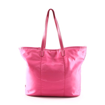 Prada Tote Bag in Pink Tessuto Nylon and Leather