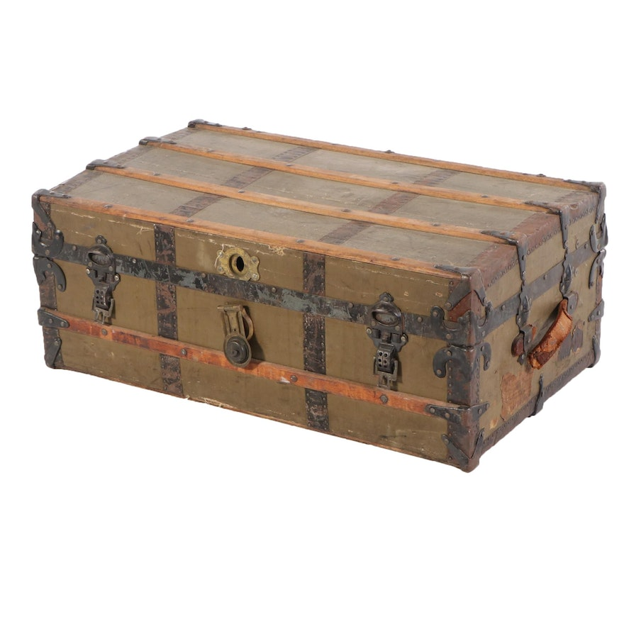 Painted Canvas Metal-Bound Steamer Trunk, Early 20th Century