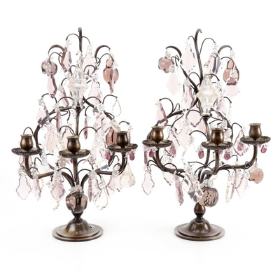Pair of Continental Brass and Glass Fruit Tree Three Light Girandoles