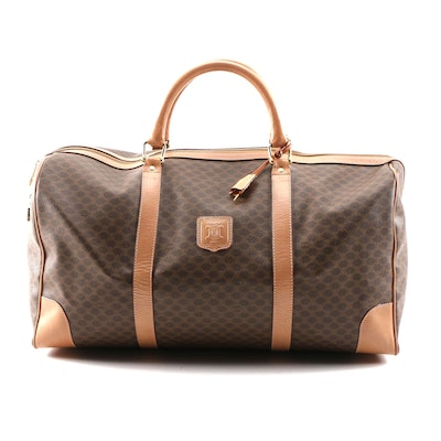 Céline Travel Duffel Bag in Triomphe Macadam Canvas and Leather