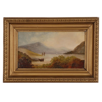 Hudson River Landscape Oil Painting, Late 19th to Early 20th Century