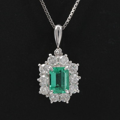 Platinum Emerald and Diamond Pendant Necklace