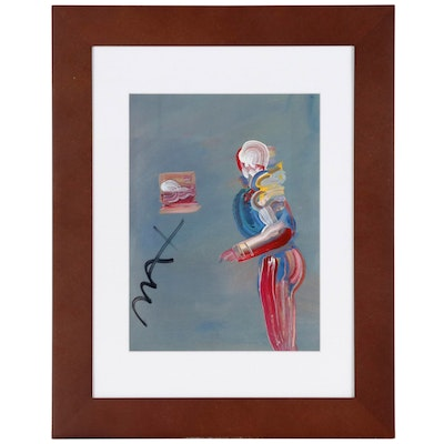 Peter Max Offset Lithograph of Abstract Figure