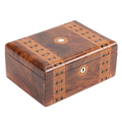 Rosewood Veneer and Marquetry Lock Box with Mother of Pearl Inlay