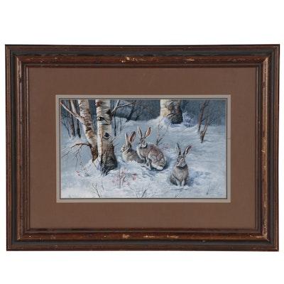 Joanne L. Flesch Winter Landscape with Rabbits Gouache Painting, 1982
