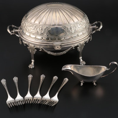 Spurrier & Co. Silver Plate Breakfast Server with Sauce Boat and Salad Forks