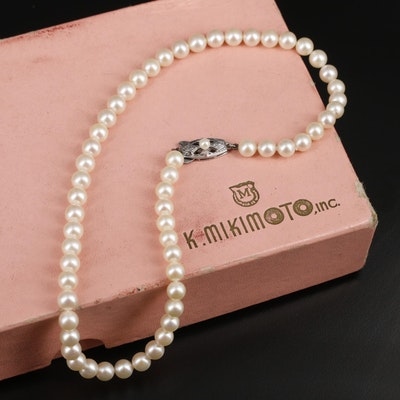 Mikimoto Sterling Silver Pearl Necklace