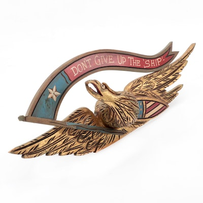 "Bellamy Style Giltwood Eagle with ""Don't Give Up the Ship"" Banner, 20th Century"