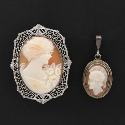 Sterling Helmet Shell Cameo Brooch and 800 Silver Cameo Pendant
