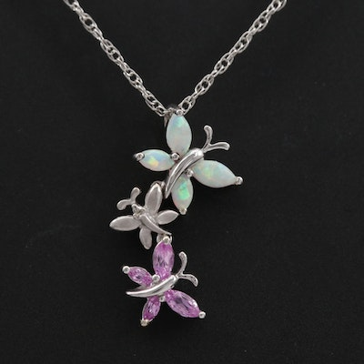 14K Butterfly Pendant on Sterling Chain with Diamond and Synthetic Gemstones