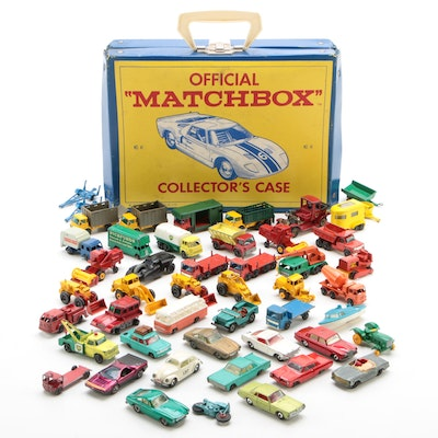 Lesney Matchbox Diecast Cars and Vehicles in Vinyl Carrying Case, 1960s-1970s