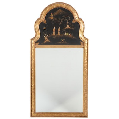 Giltwood and Chinoiserie Mirror, Mid-20th Century