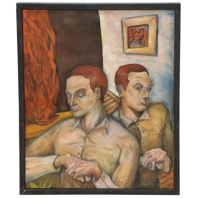 T. David Downs Double Portrait Oil Painting